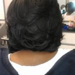 Rear view of natural hair